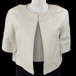 Dana Buchman leather white leather jacket size 14